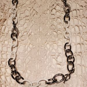 Ann Taylor White Diamond and Silver Necklace